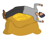 Idiom Definition - rolling in dough